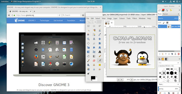 [Captura de tela do PureOS 8 com GNOME 3 desktop]