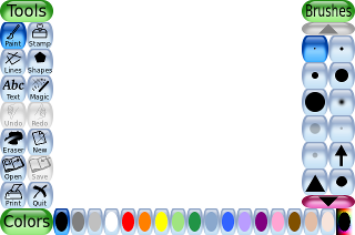 Schermafdruk van de Tux Paint-interface.