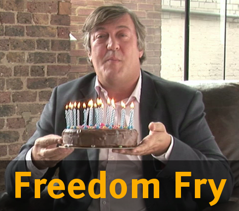 [Photo of Fry presenting GNU's birthday cake, with text: 'Freedom Fry']