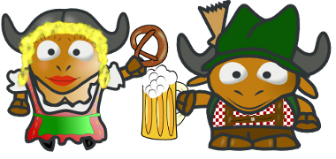 Cartoon GNUs in Bavarian Dress