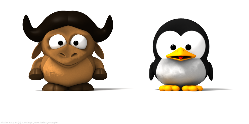 Baby GNU and Baby Tux