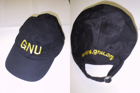 Baseball cap inscribed with 'GNU'