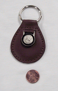 Leather keyring with GNU logo