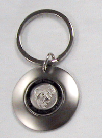 Metallic keyring with GNU logo