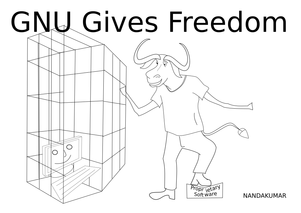 [Image of a GNU liberating a computer]