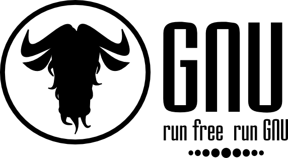 [GNU banner saying: run free run gnu]