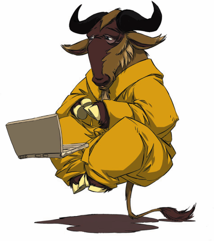 [Levitating Gnu with a laptop]