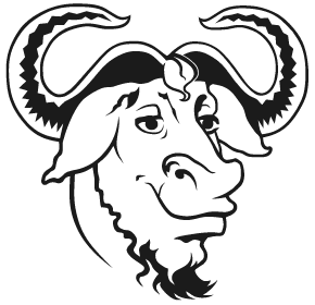 [Bold image of the head of a GNU]