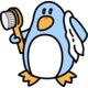 [A penguin getting out of the shower]