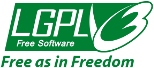 "[Large LGPLv3 logo with ""Free as in Freedom""]"