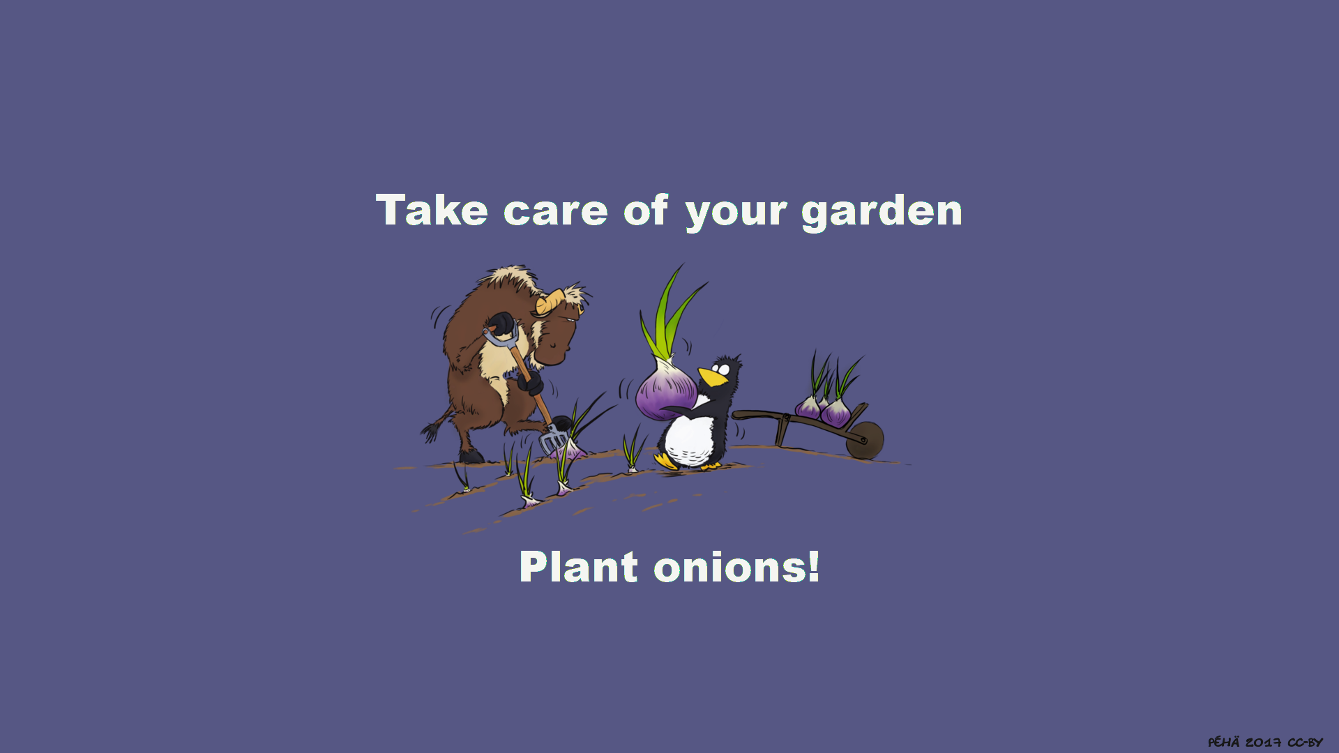[Gnu and Tux plant onions]