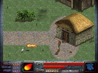 Экран игры: герой рядом с крытой соломой каменной будкой