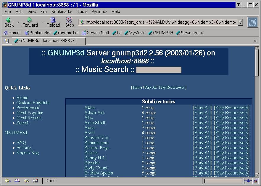 GNUMP3d screenshot