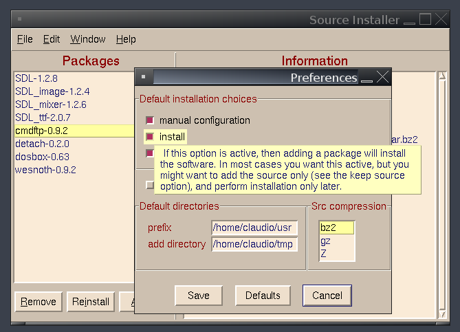 (Screenshot of the program options dialog)