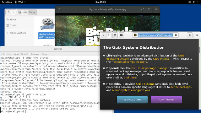 [Screenshot of GuixSD 0.15 with GNOME 3 desktop]