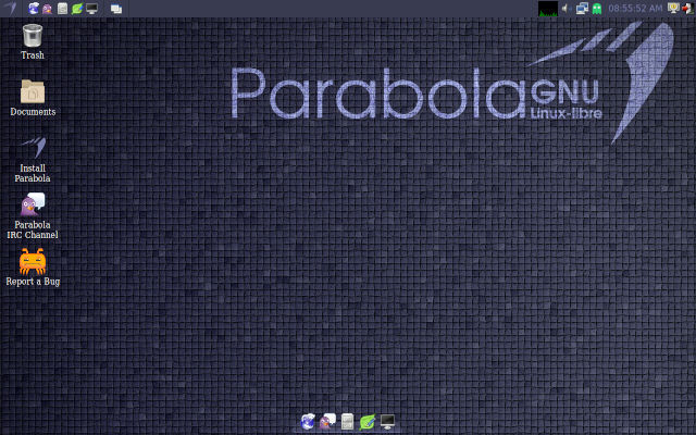 [Screenshot of Parabola with LXDE desktop]