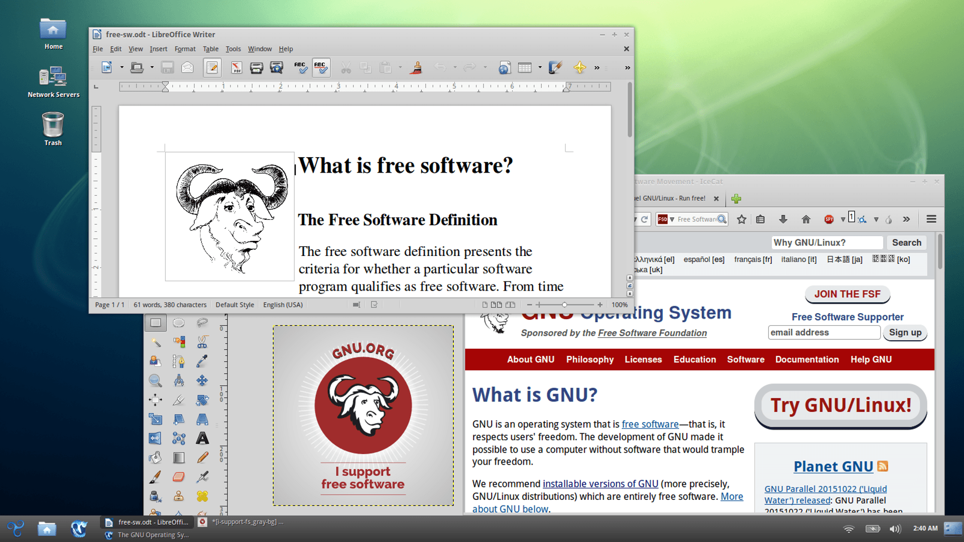 Screenshot of a Free Distro - GNU Project - Free Software