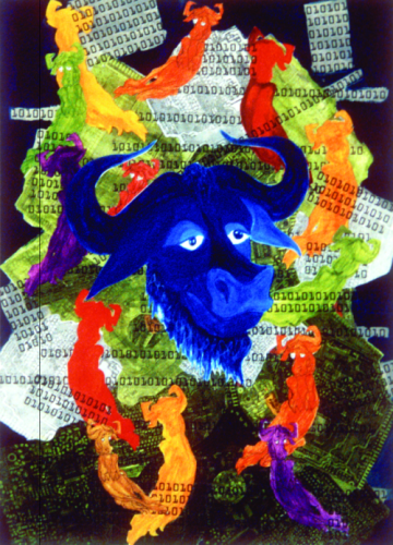 Poster featuring a blue GNU head