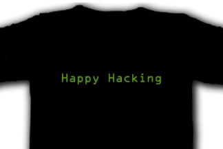 'Happy hacking' t-shirt, front