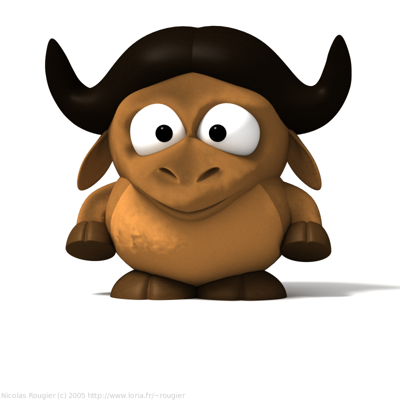 3d Baby Gnu And Tux By Nicolas Rougier Gnu Project
