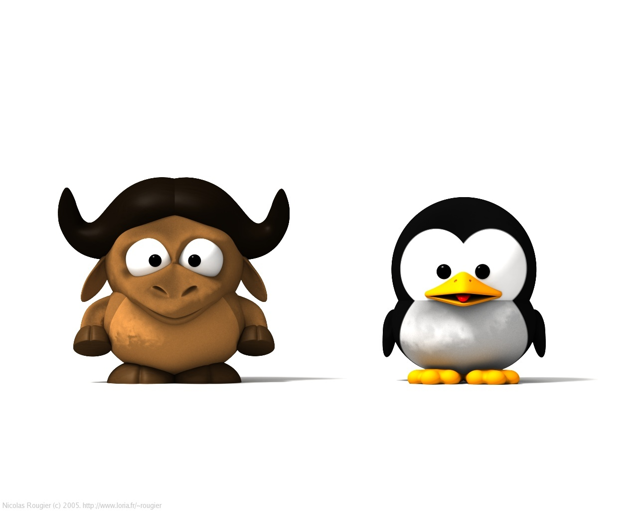 3D Baby GNU and Tux by Nicolas Rougier - GNU Project - Free Software