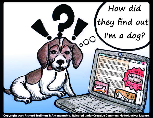 Cartoon of a dog, wondering at the three ads that popped up on his computer screen...