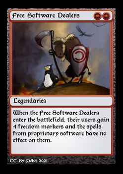 [Fantasy game card based on the Free Software Dealers]