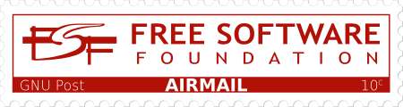 [FSF Airmail sticker]