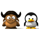 [3D baby GNU and baby Tux]