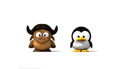[Baby Gnu and Baby Tux wallpaper]
