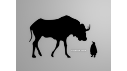 [Gnu and Tux wallpaper, black shapes]