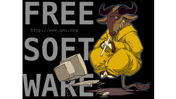 [Flute-playing Gnu - Free Software wallpaper]