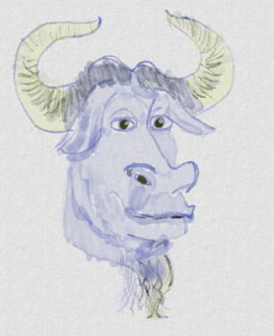 [Watercolor interpretation of the GNU Head]